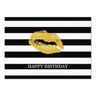 Striped with kiss 5x7 Single Birthday Card