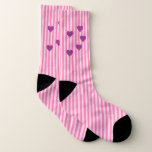 Striped with pink hearts socks