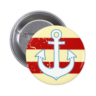 striped yachting anchor pinback button