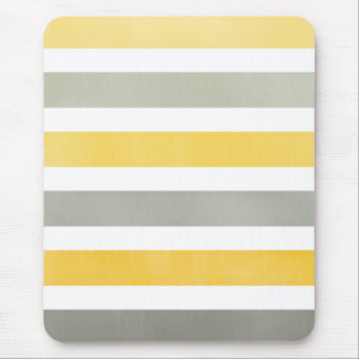 Striped Yellow and Gray Mousepad