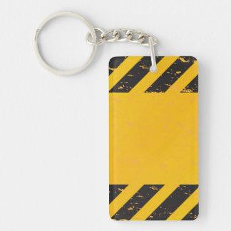 Striped Yellow Hazard Pattern Keychain