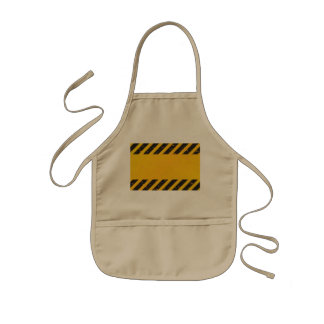 Striped Yellow Hazard Pattern Kids' Apron