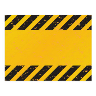Striped Yellow Hazard Pattern Postcard