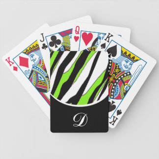 Striped Zebra and Neon Green Bicycle Playing Cards