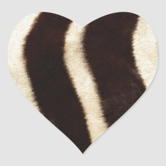 Striped Zebra Skin Heart Sticker