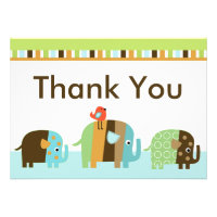 Striped Zutano Elephant Baby Shower Thank You Card