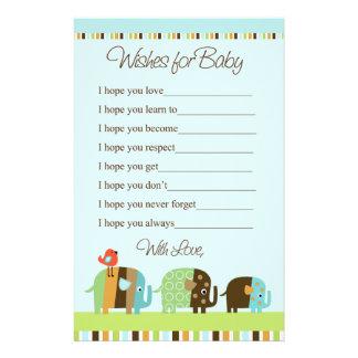 Striped Zutano Elephant Stationary Wishes for Baby Customized Stationery