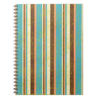 STRIPES07 RETRO STRIPES LIGHT YELLOW BLUE TAN ORAN SPIRAL NOTE BOOK