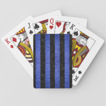 STRIPES1 BLACK MARBLE & BLUE BRUSHED METAL PLAYING CARDS