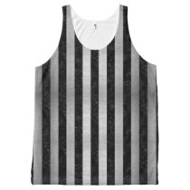 STRIPES1 BLACK MARBLE & SILVER BRUSHED METAL All-Over-Print TANK TOP