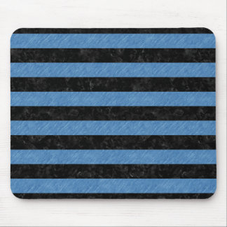 STRIPES2 BLACK MARBLE & BLUE COLORED PENCIL MOUSE PAD