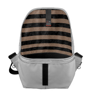 STRIPES2 BLACK MARBLE & BROWN COLORED PENCIL MESSENGER BAG