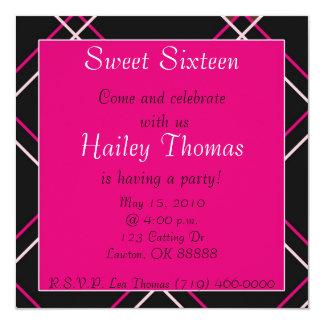 stripes2 copy, Sweet Sixteen, Come and celebrat... 5.25x5.25 Square Paper Invitation Card