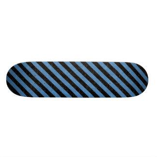 STRIPES3 BLACK MARBLE & BLUE COLORED PENCIL SKATEBOARD DECK