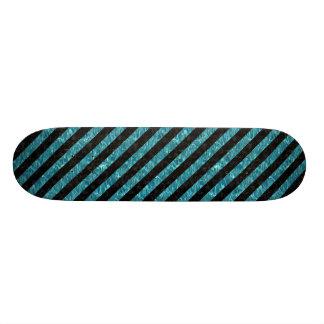 STRIPES3 BLACK MARBLE & BLUE-GREEN WATER (R) SKATEBOARD DECK