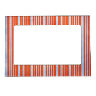 STRIPES52 CANDYCANE COLORFUL STRIPES RED  BLUE PAT MAGNETIC PHOTO FRAME