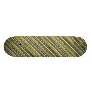 stripes69 GREEN BROWN BEIGE STRIPES RETRO COLORS B Skateboard Deck