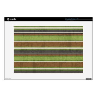 "stripes69 GREEN BROWN BEIGE STRIPES RETRO COLORS B 15"" Laptop Skins"
