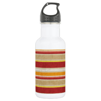 stripes69 RED ORANGE NEUTRAL COLOR STRIPES PATTERN Stainless Steel Water Bottle