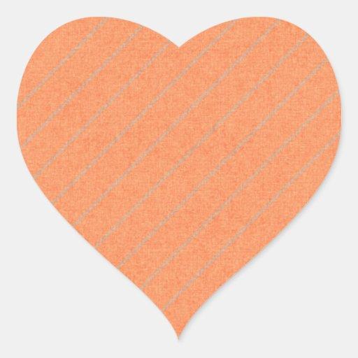 stripes75-orangegray ORANGE PEACH GREY STRIPES PAT Heart Sticker
