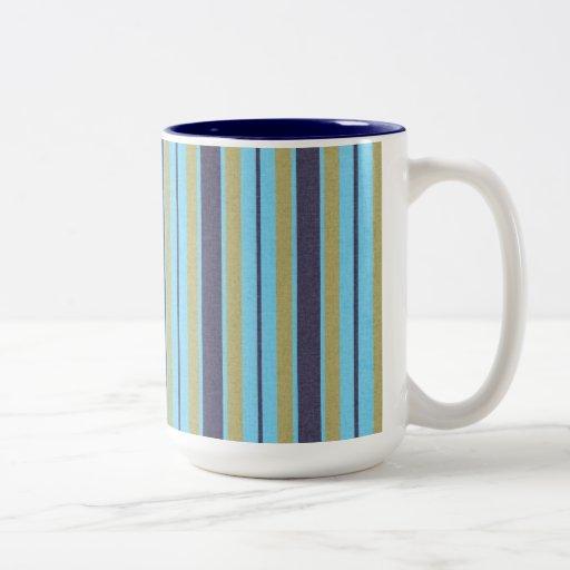 stripes91 STRIPES BLUE TAN NAVY BRIGHT VIBRANT LIG Mugs