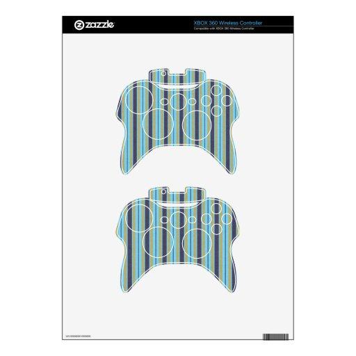 stripes91 STRIPES BLUE TAN NAVY BRIGHT VIBRANT LIG Xbox 360 Controller Skin