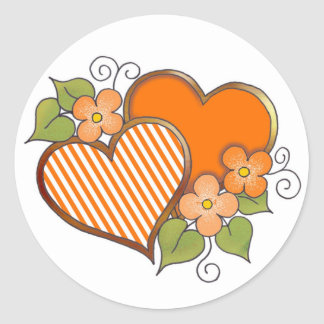 Stripes-002 Orange Round Sticker