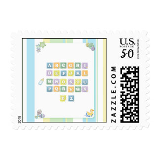 Stripes and ABC Blocks Baby Postage