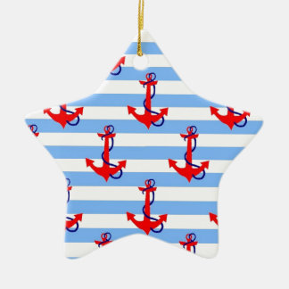 Stripes and Anchors Ceramic Ornament