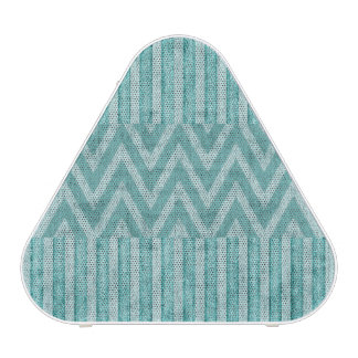 Stripes and Chevrons in Turquoise Faux Suede Speaker