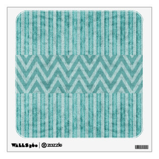Stripes and Chevrons in Turquoise Faux Suede Wall Sticker
