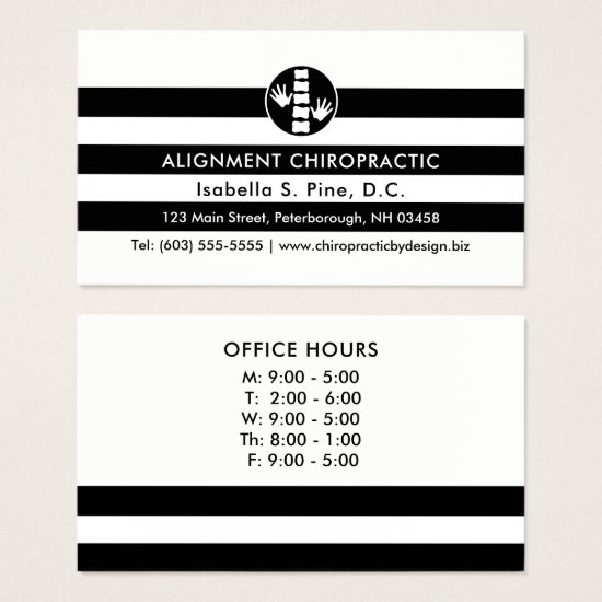 Stripes and Chiropractic Logo Office Hours Business Card