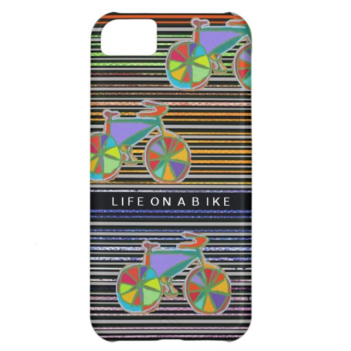 stripes and colorful bicycles case for iPhone 5C