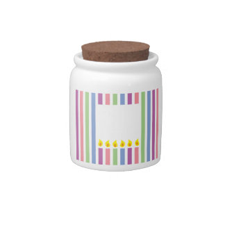 Stripes and Colourful candles in a box Candy Dishes