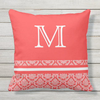 Stripes and Damask in Salmon and White Monogram Outdoor Pillow