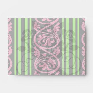stripes and damask lime green hot pink envelope