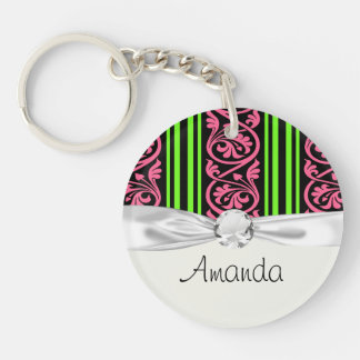 stripes and damask lime green hot pink keychain