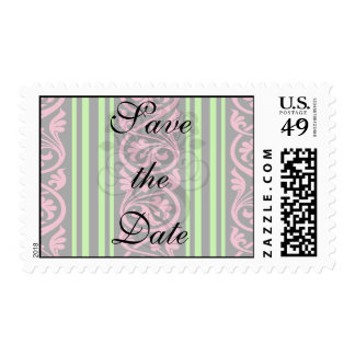 stripes and damask lime green hot pink postage stamp