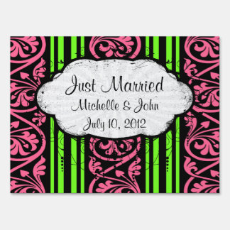 stripes and damask lime green hot pink sign
