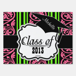 stripes and damask lime green hot pink lawn sign