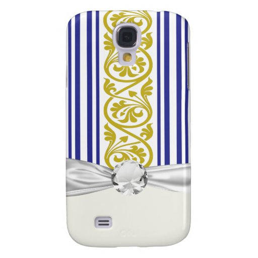 stripes and damask mustard yellow purple samsung galaxy s4 cases