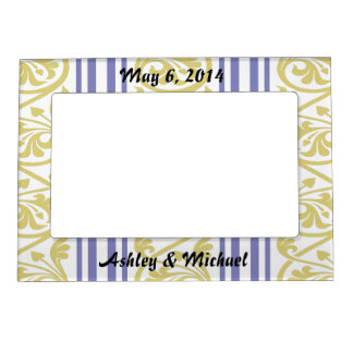 stripes and damask mustard yellow purple magnetic photo frame