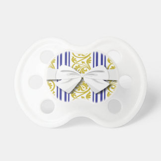 stripes and damask mustard yellow purple pacifier