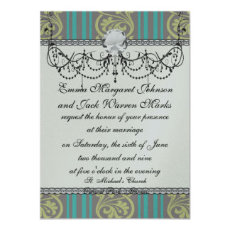 stripes and damask teal brown olive card