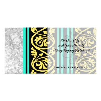 stripes and damask yellow aqua blue card
