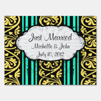 stripes and damask yellow aqua blue lawn sign
