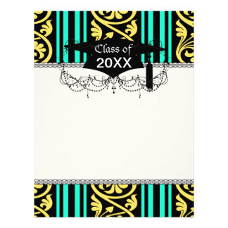 stripes and damask yellow aqua blue letterhead