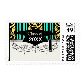 stripes and damask yellow aqua blue postage