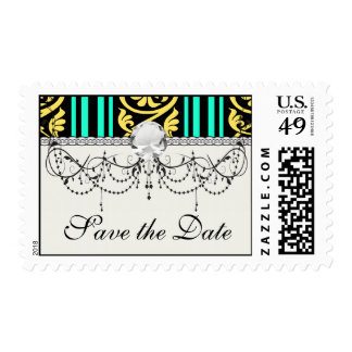stripes and damask yellow aqua blue postage stamp