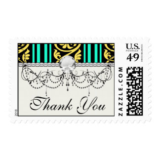 stripes and damask yellow aqua blue postage stamps